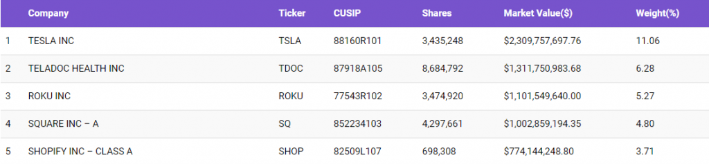 ARK Invest's Top 5 Holdings